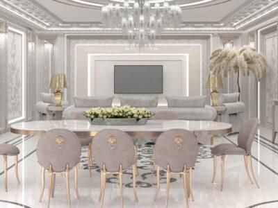 """Дизайн интерьера """"салон-гостиная"""" в стиле Арт-деко (83²)"""