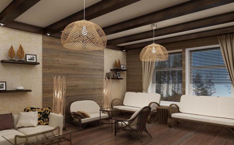 Дизайн-проект интерьера гостиной в африканском стиле