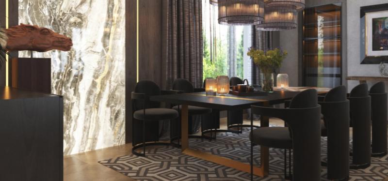Дизайн интерьера гостиной в стиле Контемпорари