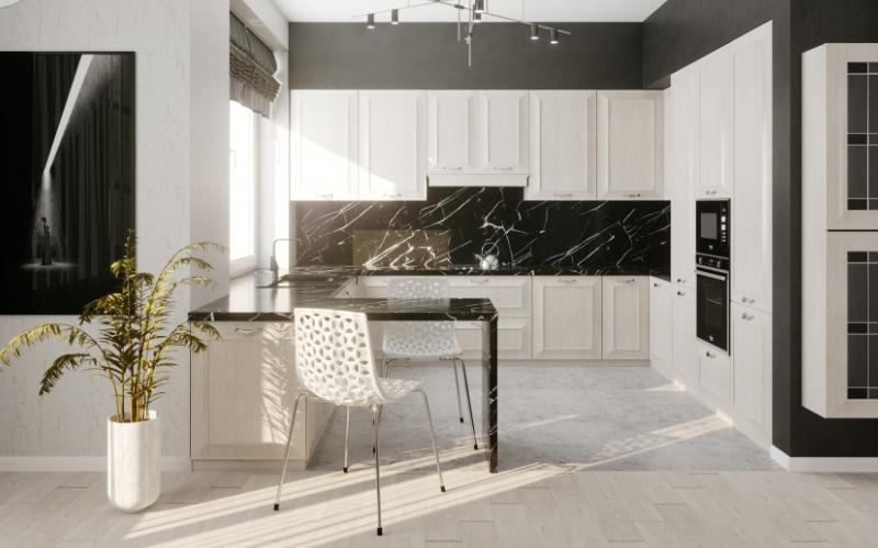 Дизайн интерьера кухни-гостиной в стиле Минимализм