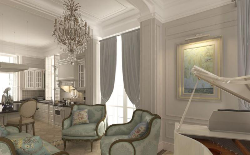 Дизайн интерьера гостиной в Французском стиле