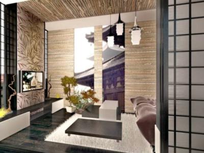 Дизайн-проект интерьера гостиной в японском стиле