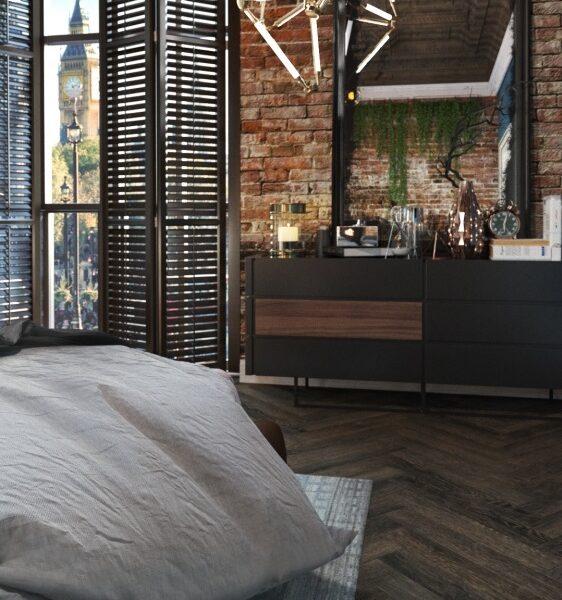 Дизайн-проект интерьера апартаментов в стиле Loft (45 м²)