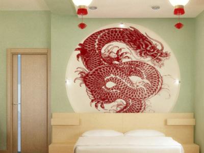 Дизайн-проект интерьера спальни в китайском стиле