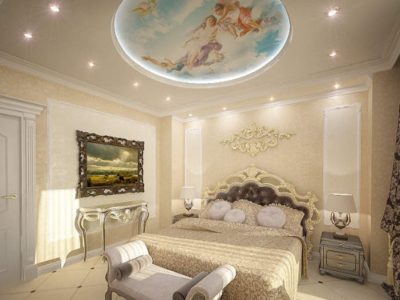 Дизайн-проект интерьера спальни в стиле барокко