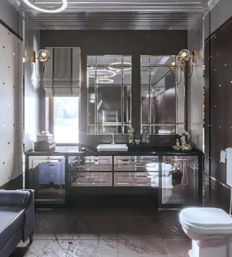 Дизайн интерьера ванной в стиле Арт-деко