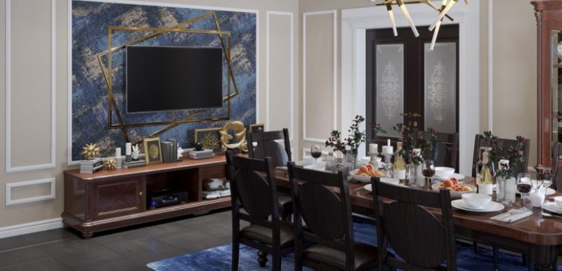 Дизайн интерьера гостиной с обеденной зоной в стиле Лофт