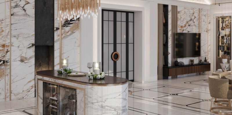 Дизайн интерьера столовой-гостиной в стиле Современная классика