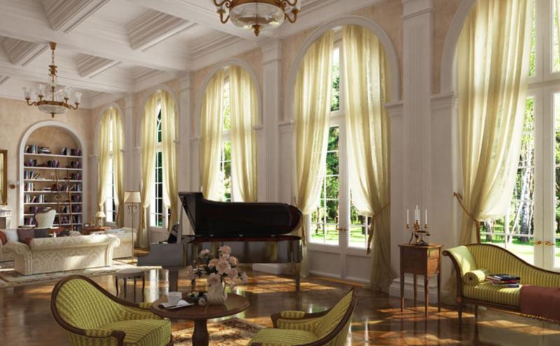 Дизайн интерьера гостиной в стиле Ампир