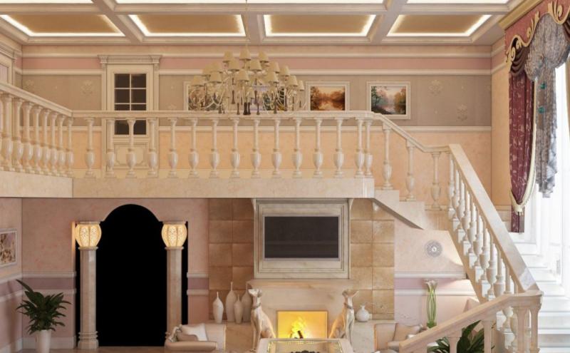 Дизайн-проект интерьера гостиной дома в стиле французская классика