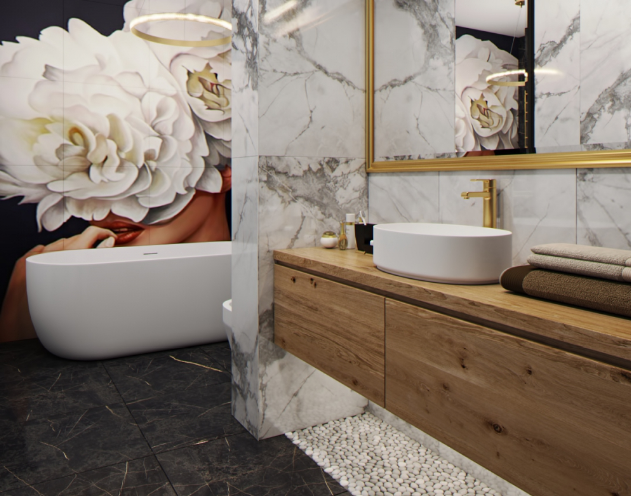 Дизайн-проект интерьера ванной в стиле Арт-деко